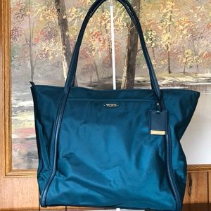 Tumi Emerald Turquoise green carry on tote travel